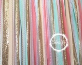 Coral, Peach, Mint, Pink & Gold Sparkle Sequin Fabric Backdrop with Lace - Wedding Garland, Photo Prop, Curtain, Baby Shower, Crib Garland