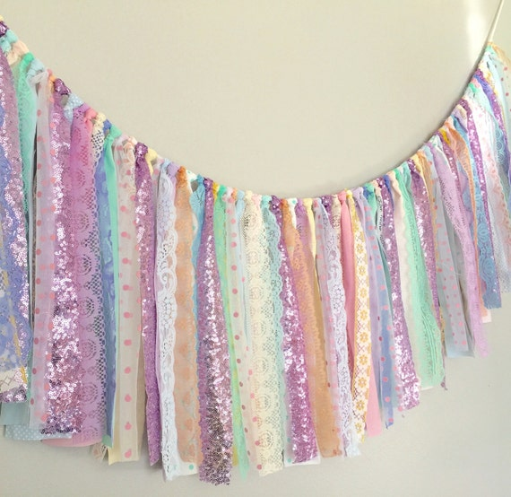 Pastels lavender sequin fabric banner garland baby shower for Baby themed fabric