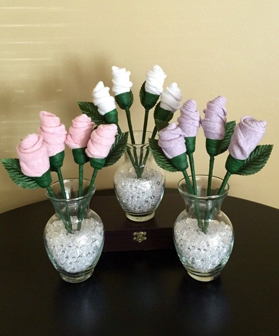 Baby sock bouquet roses shower table centerpiece