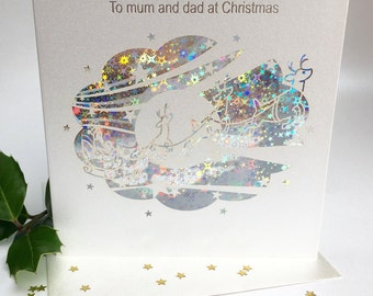 Grandma and Grandad Christmas Card Laser Cut Delicate Cut Quality Heavy Board with Foiled Insert Family little town Blue Sparkle (3663)