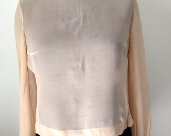 Shirt in crepe, flesh color, vintage year 60/70, size 36 / S