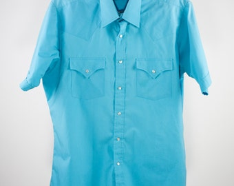 Vintage Western Shirt | Turquoise Cowboy Pearl Snap Top | Large - 16