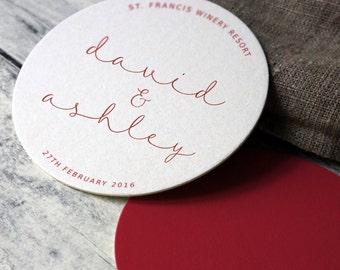 10 x Personalized Wedding Coasters, Table Decor, Table Setting, Wedding Decoration, Wedding Reception, Wedding Decor, Reception Decor