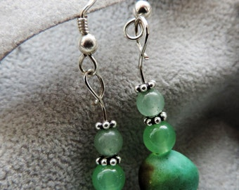 Earrings 925 sterling silver and gemstones: turquoise and agate.