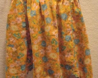 Vintage Orange, Pink, Yellow & Blue Floral Half Apron - Scalloped, Bric-A-Brac Trim - Excellent Condition!!