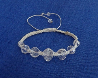 Sale White Faceted Crystal Macrame Bracelet, Friendship Bracelet,Macrame Bracelet