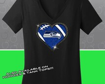 Seattle Seahawks Rhinestone Glitter Bling T-shirt - Ladies Vneck