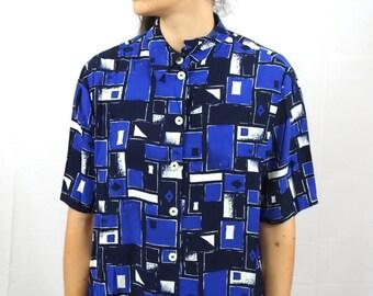 Vintage 80s Shirt Darl Blue Geometric