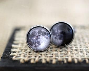 Birth Moon Cufflinks, Birth Moon Jewelry, Moon Phase on your Birthday, Moon Cufflinks, Moon Phase Cufflinks, Birthday Cufflinks, Space