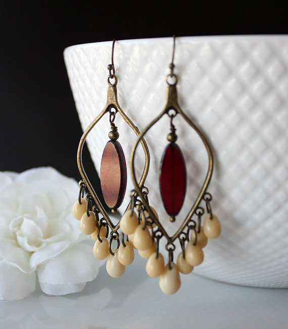 Red Chandelier Earrings: NEW Bronze Cream Red Chandelier Earrings Dark Red Bohemian
