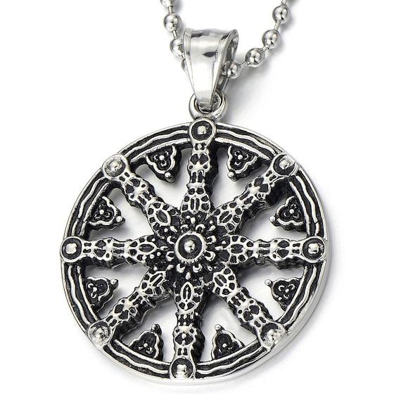 stainless steel dharmachakra pendant dharma wheel of
