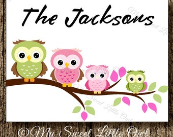 Family Card - Family thank you card - Family stationary - Family Notecards - personalized family stationary - owl family note card