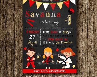 Chalkboard Karate invitation - girl Karate invite - taekwondo printable - karate baby shower - karate birthday - red taekwondo invitation