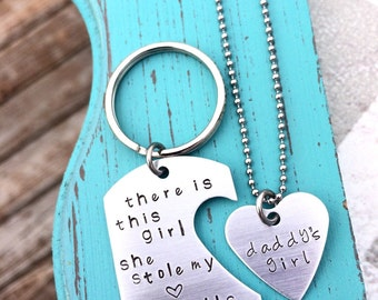 Hand Stamped Keychain & Necklace - Daddy's Girl - There is this Girl She stole my heart She calls me DADDY - Father's Day - Dad - Daughter