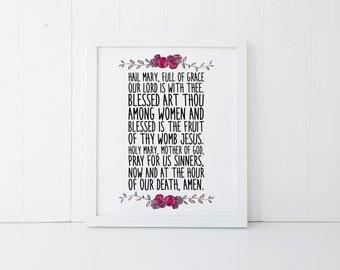 hail mary prayer printable · chrsitian prayer print · bible verse wall art · scripture print · catholic prayer print · floral quote decor