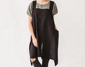 Pinafore apron, Linen apron,  Square cross apron, Apron with pocket, Black linen stone washed apron,  Japanese apron, French linen apron