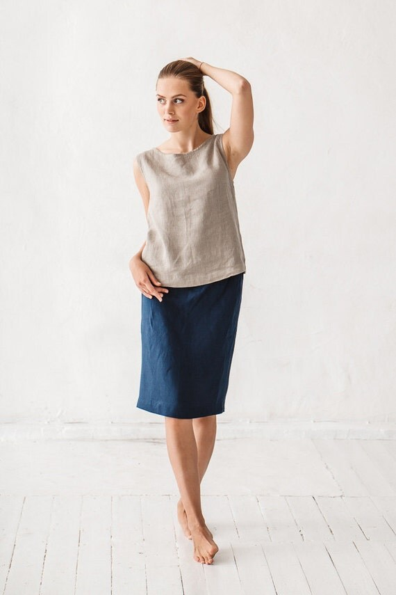 skirt linen skirt navy blue linen skirt simple linen skirt