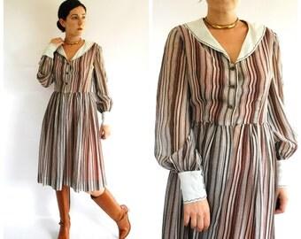 60's Striped Dress - Brown White 60's Fall Dress - Size M
