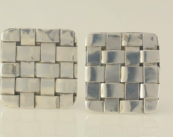 Sterling Silver Celia Sebiri Quilted Clip On Earrings