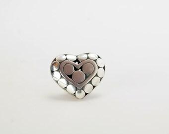 John Hardy Silver Heart Dot Tie Tack, Lapel Pin