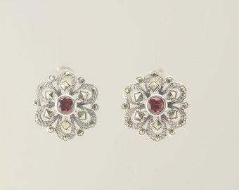 Sterling Silver Garnet & Marcasite Floral Stud Earrings