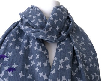 Butterfly Print Scarf , blue and white Butterflies Pattern, Ladies Cotton Linen Blend Wrap