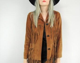 70s Leather Fringe Jacket Size Small