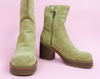 90s Distressed Suede Boots with Stacked Chunky Heel. Size 7