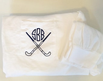 Long Sleeve Field Hockey Monogrammed Comfort Colors Pocket Tee