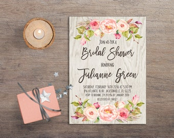 Floral Bridal Shower Invitation Printable, Boho Bridal Shower Invitation, Rustic Bridal Shower Invitation, Bohemian Bridal Invitation