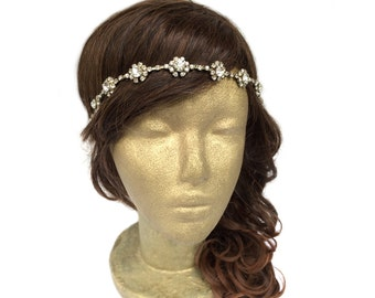 Bridal Gold Headband, Gold Flower Crown, Flower Girl Head Piece, Vintage Wedding Headband, Bridal Rhinestone Headband Greek Goddess Headband