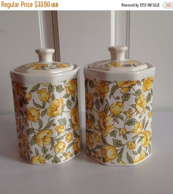 Canisters With A Yellow And Green Floral Ceramic Canisters