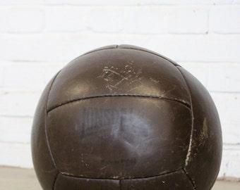 Large 5KG Vintage Leather Lonsdale Medicine Ball