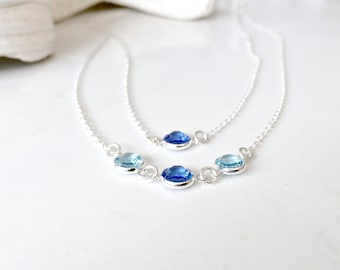 Layered Birthstone Necklace Personalized Swarovski Birthstone Necklace Aquamarine Sapphire Birthstones Sterling Silver Mothers necklace gift