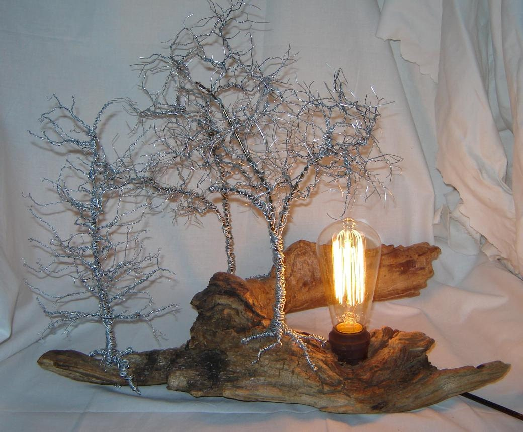 Original Desk Lamp Wire Sculpture Forest Lighted Wire Tree