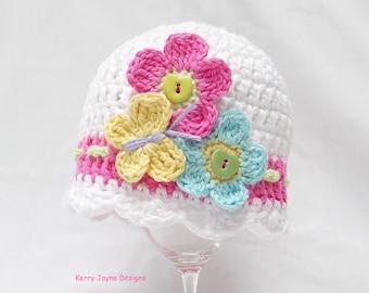 FLUTTER BY CROCHET hat pattern Baby crochet hat pattern Cotton hat pattern Baby girl crochet hat Summer hat Flower hat Pattern Pdf Usa No10A