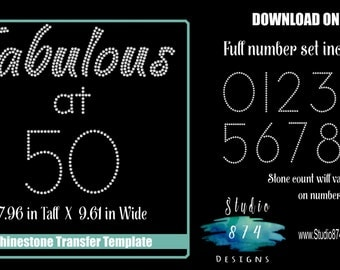 Rhinestone Transfer Template Pattern Stencil - Fabulous at (custom number) Birthday- Party -  DOWNLOAD - DIY - Sticky Flock 40 50 60