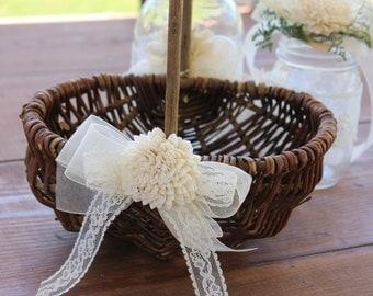 Rustic Flower Girl Basket, Flower Girl Basket, Rustic Wedding Basket, Sola Flower Girl Basket, Rustic Flower Basket, Ivory Flower Basket
