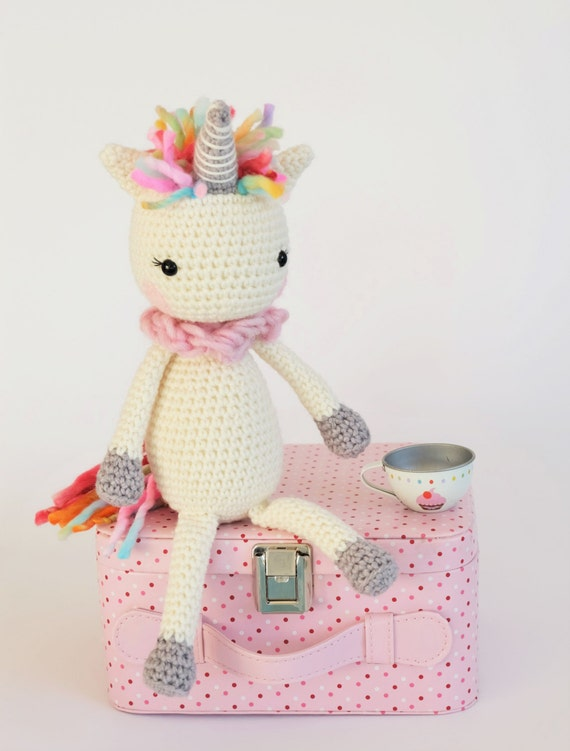 Crochet Unicorn Doll : Amigurumi Crochet Unicorn Stuffed Toy Plush Childrens Ready To Ship