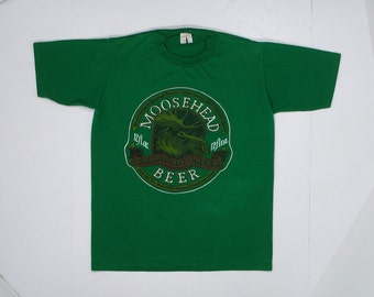 80s Moosehead Beer T Shirt Canadian Lager Small green tee Soft paper thin bar Rare collectible brewery sportswear punk rock