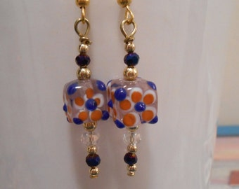 Blue and Orange Glass Flower Cube Earrings Item No. 35