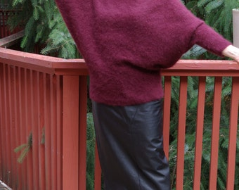 Wine Red Slouch Sweater Super Soft 80s 90s Batwing Sweater