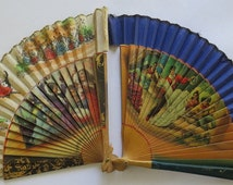 2 Vintage Spanish hand painted fans