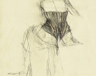 "Original drawing, ""Hommage à Toulouse-Lautrec XXIX"", Mixed media on paper, 23x16"""