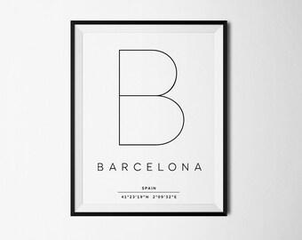 Barcelona print, Barcelona poster, Barcelona art, Barcelona coordinates, Barcelona map, Barcelona Spain, Barcelona wall print, Modern art