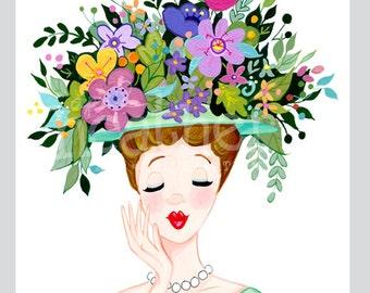 Head Vase illustration floral illustration Vintage 5x7 8x10
