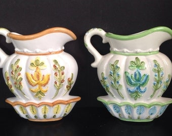 pair of vintage Lefton ceramic pitcher with bowl folk art planters/wallhangings yellow and blue floral berries Japan