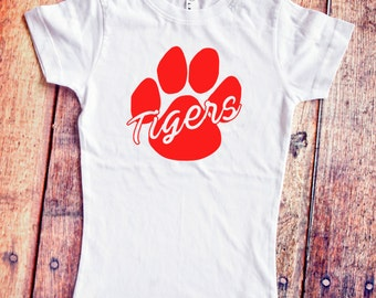 Tiger Mascot Shirt - School Mascot Shirt - White Girls T-Shirt