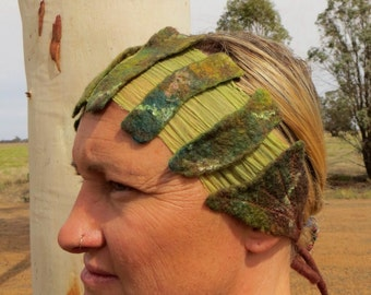SALE Art deco inspired pixie headband in forest greens with hand dyed silk