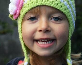 Handmade Crochet hat for girls, toddler hat, Flower hat